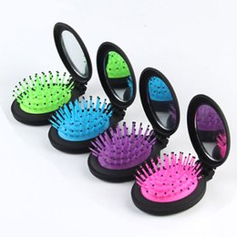 oval shaped glasses frames NZ - 6.5cm New Girls Portable Mini Folding Comb Airbag Massage Round Travel Hair brush With Mirror Cute oval shape