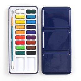 painting colours NZ - 18 Watercolour Paint Set With Brush In Case Painting Water Colour Art Artist Kit