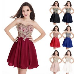 Discount girls wearing backless dress - Cheap New Short Cocktail Dresses Gold Lace Appliques Sweetheart Mini Homecoming Dresses Junior Girls Graduation Party Go