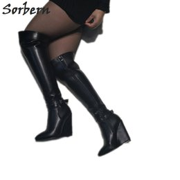 c6548a7b562 Fashion Knee High Boots Wedge High Heels Zip Up Ladies Boot Size 11 Women  Shoes Personalized Wide Fit Calf Black Boot