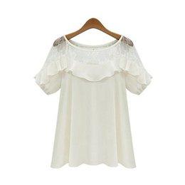 Cotton T Shirts Lace Canada - Womens Designer T Shirts 2019 Summer New Fashion Lace Short Sleeve Sexy Solid Color Top Loose Perspective Tees Womens Clothes 2 Styles
