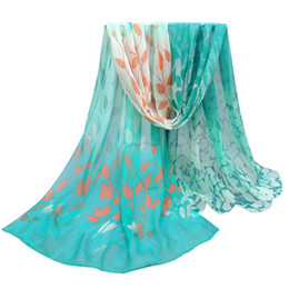 Design Shawl Chiffon UK - Women Design Printed Soft Summer Beach Cover-up Chiffon Shawl Wrap Wraps 158cmx50cm High Quality Scarf Hot Sale
