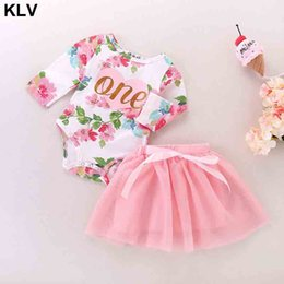 girls birthday tutu sets UK - 2Pcs Clothing Set Baby Girl Summer Outfits 1st Birthday Romper Top Sleeveless Floral Tutu Skirt