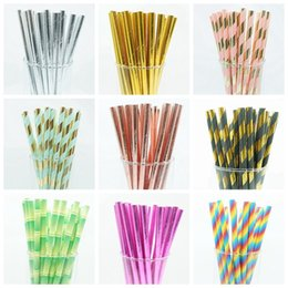$enCountryForm.capitalKeyWord NZ - 50pcs Drinking Paper Straws Gold Silver Straw Its A Boy Girl Pink Blue Baby Shower Decoration Gift Party Event Supplies