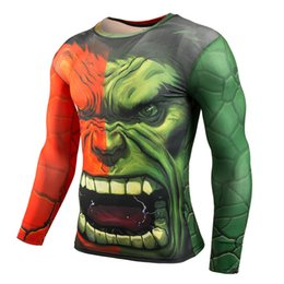 hulk printed t shirts Canada - Most popular 3D Printing, Tight-fitting,Incredible Hulk,Sweat-sweating, Fast-drying Men's Sports and Fitness Long-sleeved T-shirt GYM