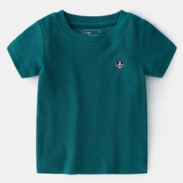Plaid Tee Kids Australia - INS Designing Boat Anchor Embroidery Summer Kids Tees Pure Solid Green White Summer Boys Girls Tshirt Girls Short Sleeve T-shirts For Kids