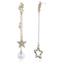 $enCountryForm.capitalKeyWord UK - Long Pendant Star Earring Personality Pearl Star Tassels Earring Asymmetric Chandelier Ear Loop Women Crystal Rhinestone Charm Earring