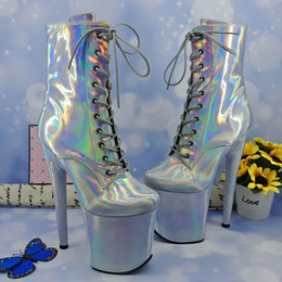 $enCountryForm.capitalKeyWord Australia - Leecabe Shinny Silver 20CM 8inches Pole dancing shoes High Heel platform Boots closed toe Pole Dance hight boot