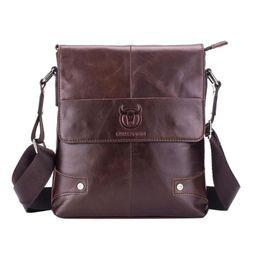 $enCountryForm.capitalKeyWord Canada - BULLCAPTAIN Men briefcase handbag Genuine Leather Crossbody Bags for Male Small Business Shoulder Bag Leather Messenger Bags