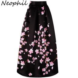6892f5bd0777 Neophil 2018 Vintage Sakura Flower Print High Waist Ladies Maxi Long Black  Skirts Pleated Women Longa Saia Falda Larga MS1021