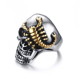 $enCountryForm.capitalKeyWord Australia - Biker Ring for Men Skull Rock Punk Crawling Scorpion Stainless Steel Male Rings Jewelry Hiphop Anillo Hombre Bague Homme Bijoux