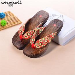 $enCountryForm.capitalKeyWord Australia - Whoholl Geta Summer Sandals Women Wedges Flip-flops Sandals Wooden Clogs Shoes Indoor Bathroom Slippers Flip-flops For Female