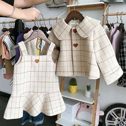 913e41dbe5d5 2pcs WLG autumn winter girls clothing set kids plaid thick coat and dress  set baby casual beige clothes children 2-7 years old