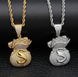 Necklace Bag Pendant Australia - 14K Gold Iced Out Dollar Sign Money Bag Pendant Necklace Bling Bling Pendant Mens Hip Hop Micro Pave Cubic Zirconia Simulated Diamonds Jewel
