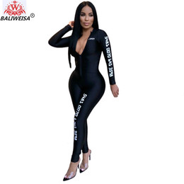 sexy weaves 2019 - BALIWEISA 2019 Full Sleeve Jumpsuits Autumn Winter women Overalls Woven Number Print Outfits casual sexy fashion Bandage