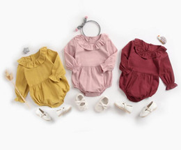 Wholesale Ins Baby clothing Spring Fall 100% cotton romper Ruffle Collar Solid Color Long sleeve Girl romper Baby cuasual clothing
