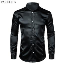 Silk tuxedoS online shopping - Black Slim Fit Silk Dress Shirt Men Satin Smooth Men Tuxedo Shirt Business Wedding Prom Male Casual Shirt Chemise Homme