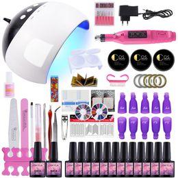 nails set lamp 2019 - Nail Kit Dryer 24W UV LED Lamp&UV Gel Varnish Polish Top Base Coat Manicure Tool 6 10 12 Color Nail Polish For Sets disc