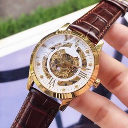 Skeleton watcheS leather Strap online shopping - diamond automatic skeleton watch luxury mens designer watches crystal mirror real leather strap mechanical self wind movement wristwatches