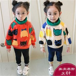 $enCountryForm.capitalKeyWord Australia - WLG girls winter cartoon velvet hoodies kids orange beige turtleneck long sleeve thick hoodies baby casual all match clothes 2-7