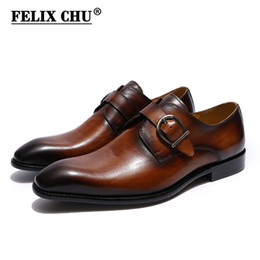 brown monk strap shoes 2021 - FELIX CHU European Style Handmade Genuine Leather Men Brown Monk Strap Formal Shoes Office Business Wedding Dress Loafer Shoes