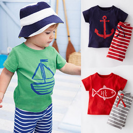 $enCountryForm.capitalKeyWord NZ - Baby Clothes Boys Cartoon anchor fish Striped Casual Suits 2pcs Sailboat Sets T-shirt+Pants 2pcs suit Children Clothes