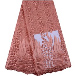 $enCountryForm.capitalKeyWord UK - 2019 High Quality African Lace Fabric Peach French Net Embroidery Tulle Lace Fabric For Nigerian Lace Fabric Party Dress A1470