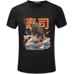 Venta al por mayor de Harajuku de dibujos animados Gran Sushi Dragón camiseta impresa Hombres y mujeres Hip Hop Camiseta de manga corta Camiseta japonesa de manga larga S5mc45 R