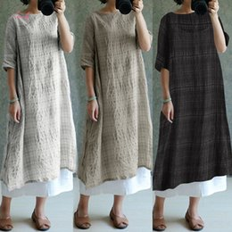 ladies cotton sundresses NZ - 2019 Women Vintage Dresses Plaid Sundress Linen Summer Dress Oversized Women Clothes Ladies Casual Long Sleeve Loose Vestidos S 5Xl