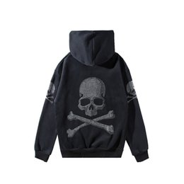 Skull Sweater jacket online shopping - 2019 Autumn Winter New Skulls Hot Drilling Hooded Fashion Sweater Mens Womens Desiger Jacket Zipper Cotton Cardigan Coat Plus Size S XL
