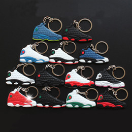 christmas gift shoes NZ - Mix Cute Silicone basketball shoes Key Chain a j13 Sneaker Keychain Kids Key Rings Key Holder for Woman and Girl Christmas Gifts