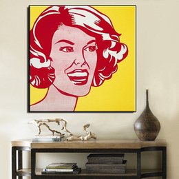 Life Size Figures Australia - Roy Lichtenstein Red and Yellow High Quality Hand Painted & HD Print Portrait Wall Art Oil Painting On Canvas Home Decor Multi sizes Ry14