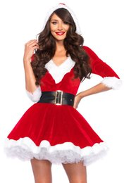 Wholesale santa costume female online – ideas Women Sexy Santa Claus Christmas Festival Costumes Adult Red Velvet Fur Dresses Hooded Sexy Female Santa Claus Costume