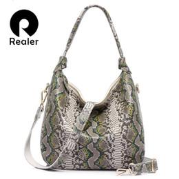 $enCountryForm.capitalKeyWord Australia - REALER brand new women genuine leather handbag serpentine pattern leather tote bag large capacity casual ladies shoulder bags Y190619