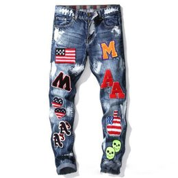 embroidered american flags UK - Summer New Fashion Style Mens Designer Jeans Blue Skinny Pencil Jeans Straight Embroidered Flag Badge Paint Mens Slim Brand Jeans