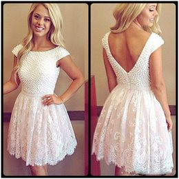 Discount open back scoop prom dress - Cocktail Party Dress Scoop Pearls Open Back Short White Homecoming Dresses Charming Lace Prom Gowns Plus Size Custom Mad