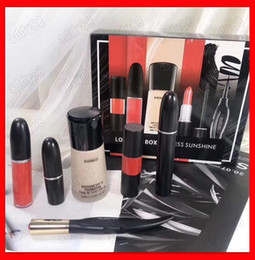 Discount mascara set boxes - 2019 NEW M Makeup Set Look In A Box Endless Sunshine Matte Lipstick Lip Gloss Eyeliner Mascara Foundation 6 in 1 Cosmeti