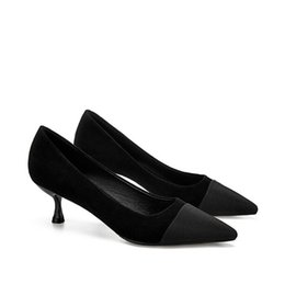 95fd7682cc Women Evening dress high heels luxury Sexy Black Office & Career party  wedding dress shoes shallow mouth pointed fashion Designer Women shoe