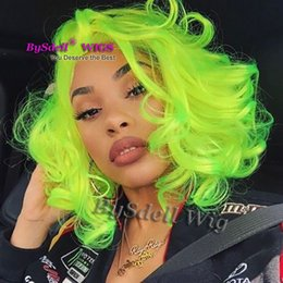 Color Hair Pastels Australia - 12'' short wave fluorescent green color hair wig synthetic bright pastel green color hair lace front wigs for African American black woman