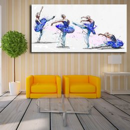 blue floral canvas wall art NZ - Blue Swan Ballet Painting By Yann Dalon Art Canvas Poster Painting Wall Picture Print Modern Home Bedroom Decoration Framework