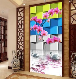Discount 3d wall sticker water - custom size 3d photo wallpaper living room mural magnolia water swan square picture porch backdrop painting wallpaper no