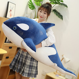 whale toys for kids NZ - cute cartoon whale plush toy giant soft sea animals shark sleeping pillow super soft doll for kids birthday gift deco 47inch 120cm DY50871
