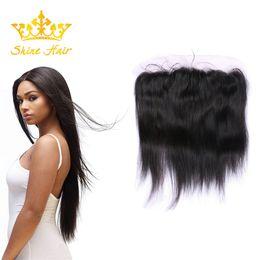 $enCountryForm.capitalKeyWord Australia - Shine Hair Brazilian Natural Black Color Straight 13*4 Lace Frontal 8-22 Inch Peruvian Ombre 613 Blonde Human Hair