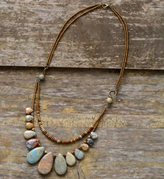 Wood Stone Necklace Australia - Chokers Necklaces For Women Teardrop Natural Stones Seed Beads Short Statement Necklace Luxury Beaded Jewelry Dropshipping J190517
