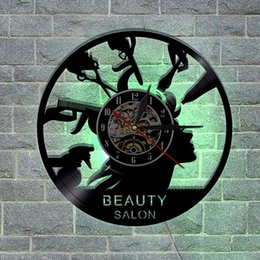 unique analog watches Australia - 1Piece Beauty Salon Vinyl Record Wall Clock Barber Shop Unique Art Decor LED Vinyl Light With Color Changing Hanging Time Watch