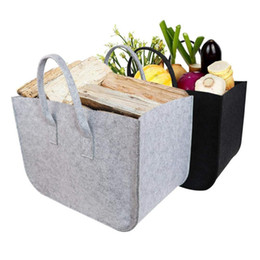 baskets for clothes storage UK - Large Firewood Basket,Storage Felt Shopping Basket Cloths Bag,Laundry Hamper Baskets with Handle for Carry Wood,Toys,Go Shopping