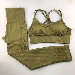 $enCountryForm.capitalKeyWord UK - Seamless Yoga Set Women Fitness Clothing Sportswear Woman Gym Leggings Padded Push-up Strappy Sports Bra 2 Pcs Sports Suits