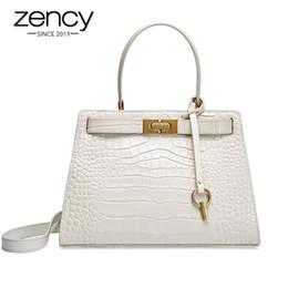 Discount red crocodile handbags - Zency Crocodile Pattern Women Handbag Lock 100% Genuine Leather Summer Beige Shoulder Bag Luxury Red Casual Tote Black M