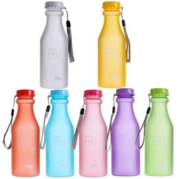 unbreakable plastic Australia - 550mL Frosted Sports Water Bottle Dull Polish Plastic Leak-proof Colorful Unbreakable Outdoor Running Climbing Camping Bottle