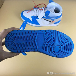 8aa30a2f213731 Authentic 1 Powder Blue White Basketball Shoes for Men UNC Outdoor Sneakers  Sports with Original Box Best Quality 2018 Fashion AQ0818-148